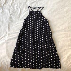 Urban Outfitters Navy White Polka Dot Mini Dress